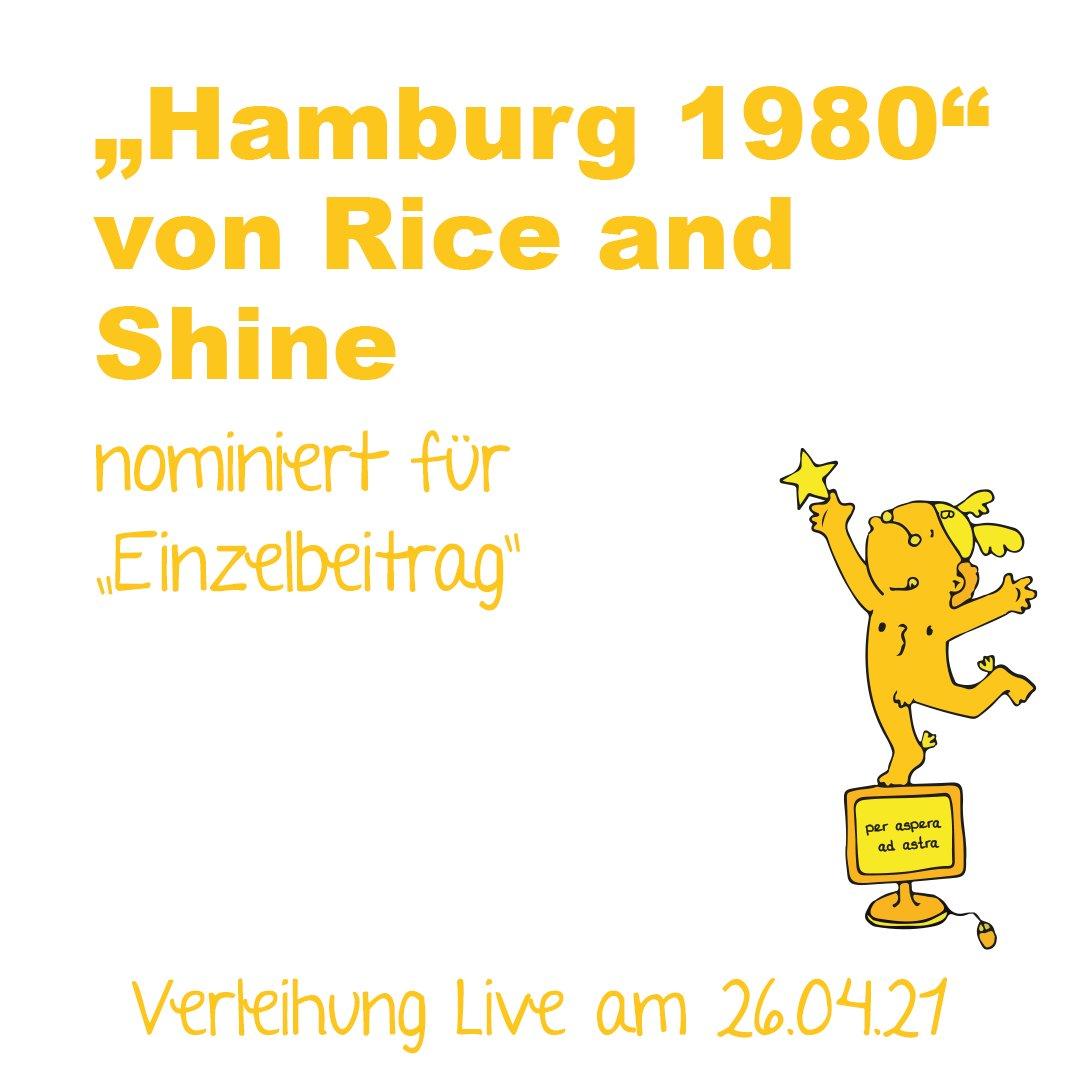 """Banner von Goldenen Blogger, die für 2021 den Einzelbeitrag """"Hamburg 1980"""" nominiert haben"""